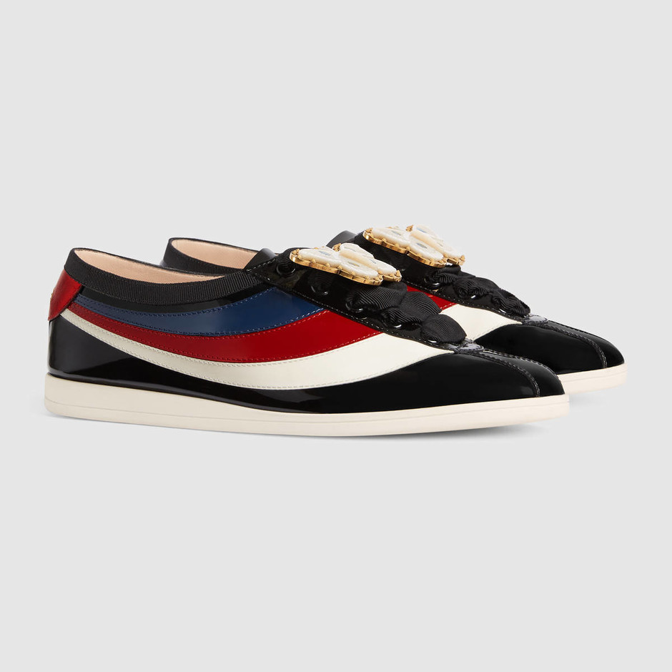 Falacer patent leather sneaker with Web - Gucci Women's Sneakers 4936870B9101082