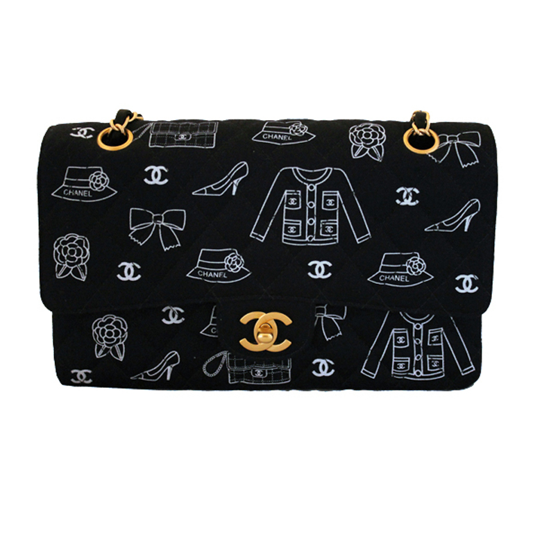 Chanel Limited Edition Navy and White Runway Double Flap Handbag at 1stdibs