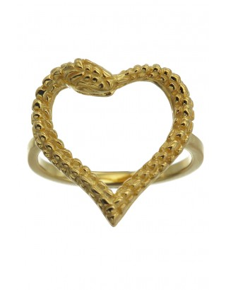Snake Heart Ring Gold / Gold / S-L / W12 - Jewellery - Accessories