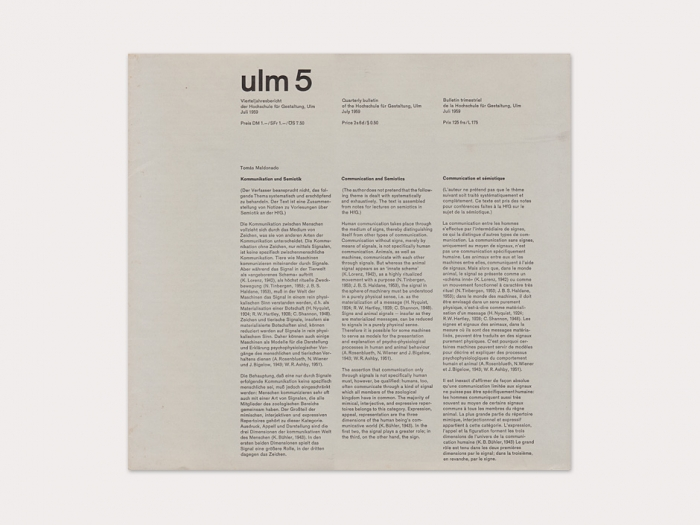 Display   Journal of the Hochschule fur Gestaltung ulm 5   Collection