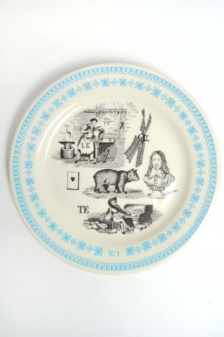 Rebus Biscuit Plate Set in Blue | The Hambledon