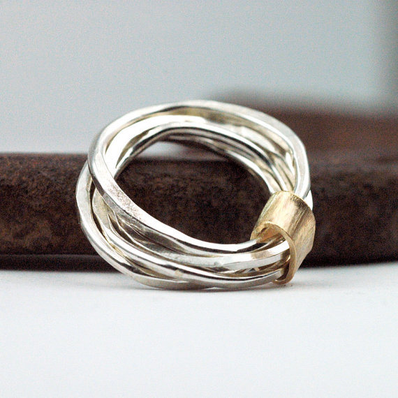 Stacking Rings Sterling Silver Wrapped in Gold by thebeadgirl