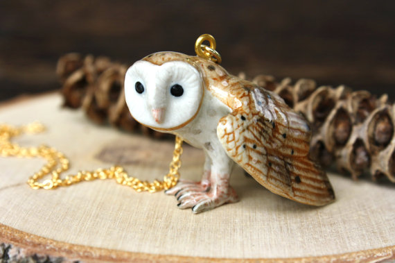 Barn Owl Hand Painted Owl Necklace Whimsical by apocketofwhimsy