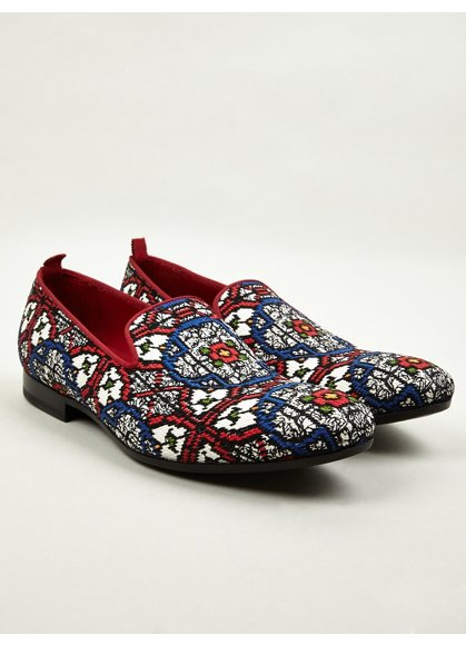 Alexander McQueen Men's Stained Glass Woven Slip On Shoes | oki-ni