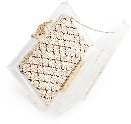 Charlotte Olympia Pandora Shell Print Clutch in White (Multi-colour) | Lyst