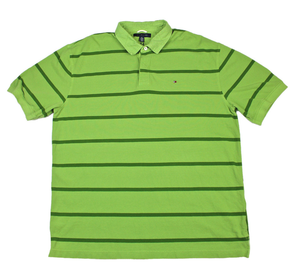 Tommy Hilfiger Green Striped Polo Shirt Mens Size XXL | Vintage Mens Goods