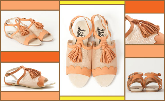 DY110 MESH&NUBUCK CORAL/CREAM - WAS 95 GBP. NOW 47 GBP --- F-Troupe