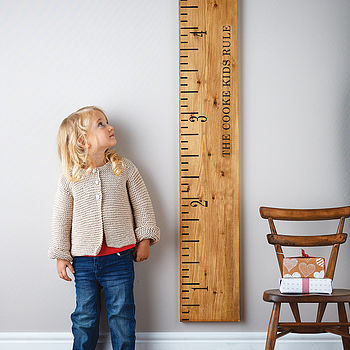 personalised 'kids rule' wooden ruler height chart by lovestruck interiors | notonthehighstreet.com