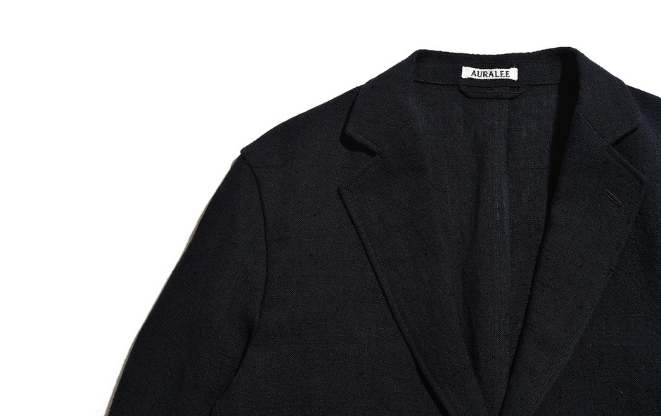 AURALEE/Linen Silk Summer Tweed Jacket-Black