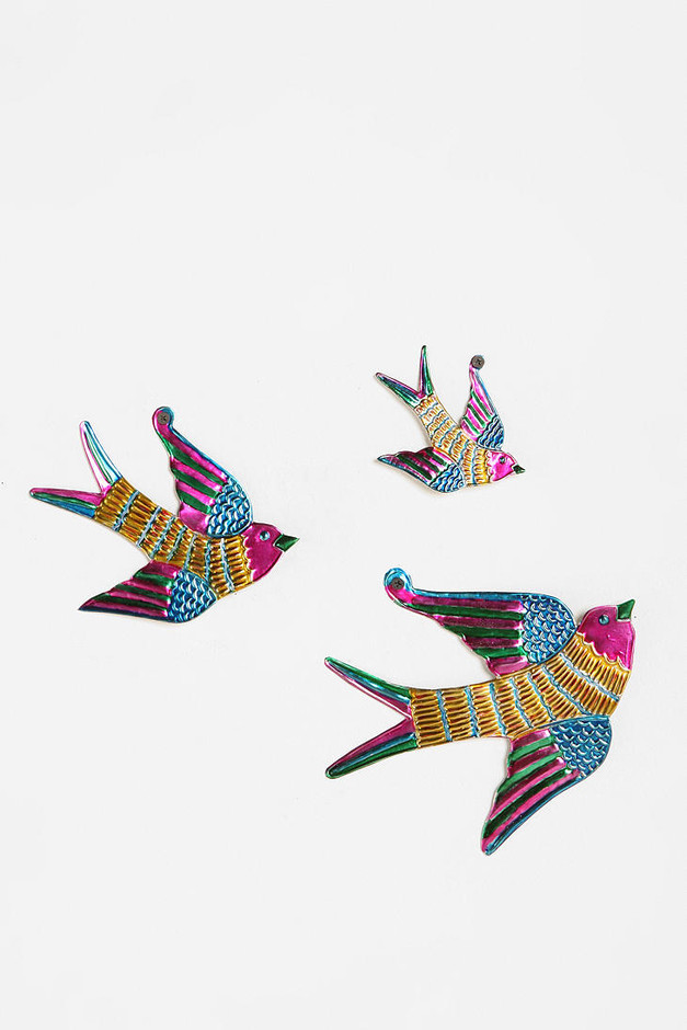 Urban Outfitters - Tin Birds Sculpture Wall Art - Set of 3