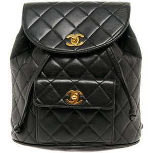 Vintage Chanel Black Quilted Backpack Bag - Polyvore