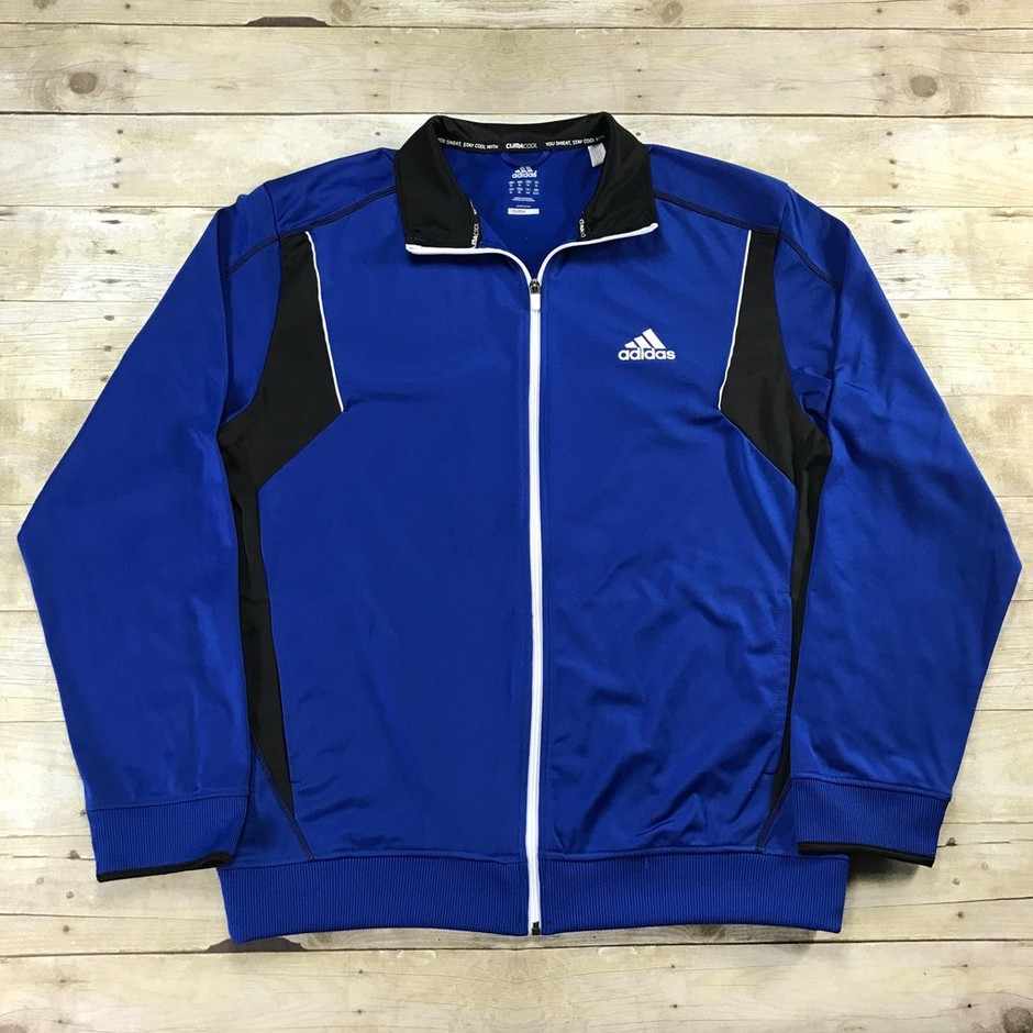 Adidas CLIMACOOL Track Jacket Blue / Black Mens Size XL | Vintage Mens Goods