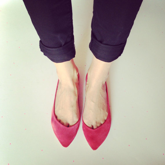 Pointy Red Handmade Ballet Flats Ballerine by elehandmade on Etsy