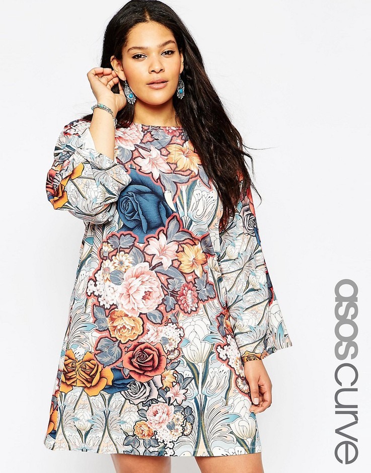 ASOS Curve | ASOS CURVE Swing Dress with Kimono Sleeve in 70's Floral Print at ASOS