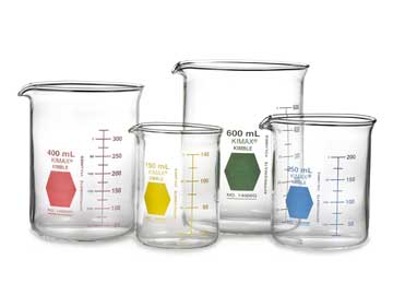 Kimax yellow coded Griffin beakers 100 mL 12 cs from Cole-Parmer