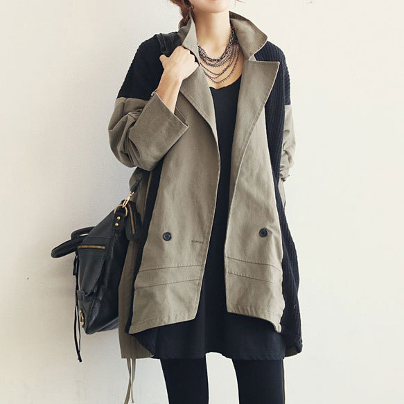 [grxjy560534]Batwing Sleeve Spliced Mixing Color Women's Trench Coat / brashycouture