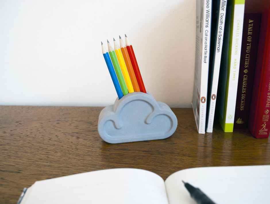 Cloud Pencil Tidy : Pencils and giant eraser... look it's a rainbow