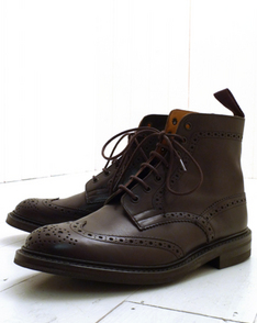 Espresso Burnished Stow Brogue Boot - Dainite by Tricker's available to buy at The Bureau Belfast