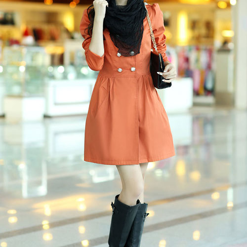 lulula-fashion shopping mall — [ghyxh3600843]British Style Double Breast Pure Color Elegant Trench Coat