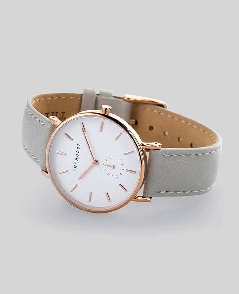 Rose Gold / Grey Leather   The Classic   The Horse