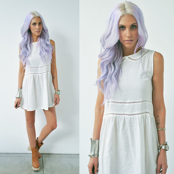 "Olive Clothing Ivory Oblique Line Collar Waist Dress, Forever 21 Bracelets, Jeffrey Campbell Tan Wedged Boots //""Pale Purple Hues"" by Amanda Shoemaker // LOOKBOOK.nu"