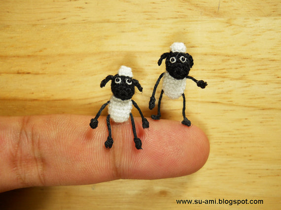 Twin Funny Sheep Micro Crochet Miniature Sheep Set of by suami