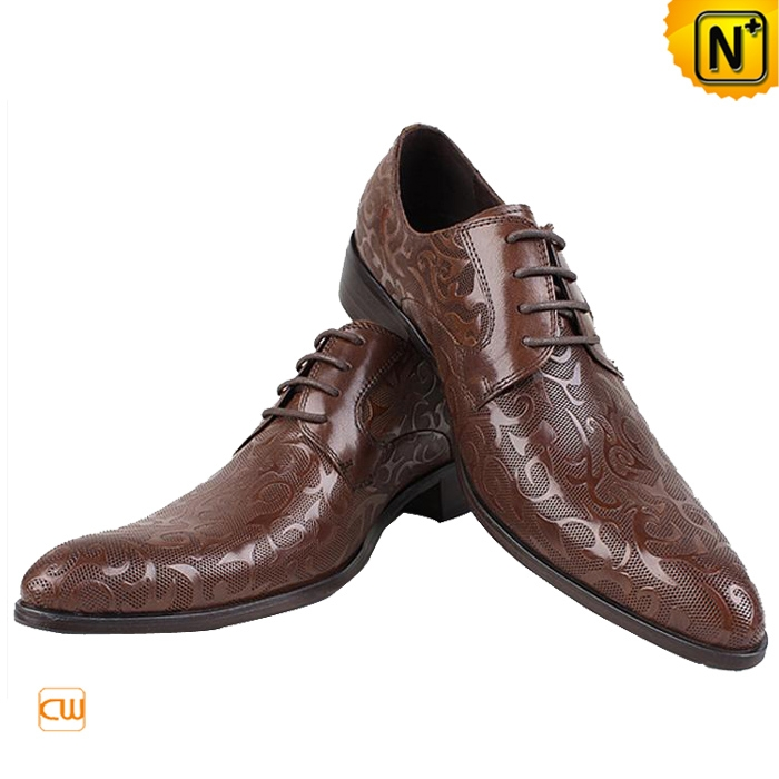 Men's Designer Shoes 2012 /2013 Men's Embossed Leather Lace-up Oxford Shoes Brown CW769326