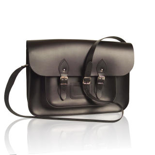 15-inch British Vintage Style Satchel hand-crafted from Charcoal Black Leather