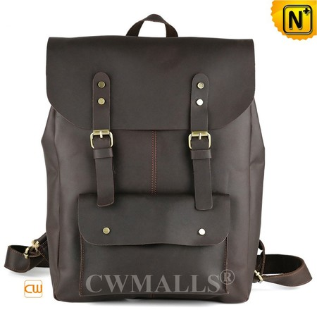 Patented Leather Bags | CWMALLS® Vintage Leather Travel Backpack CW908023