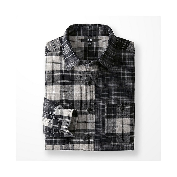 MEN Flannel Mixed Check Long Sleeve Shirt  - UNIQLO UK Online fashion store