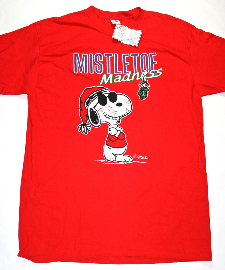 Vintage Deadstock Snoopy Christmas Mistletoe Shirt available at Vintage Mens Goods. | vintagemensgoods