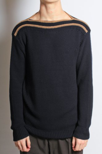 DRIES VAN NOTEN 'Jim' Slash Neck Contrast Knit in Navy - KNITWEAR from Autograph UK