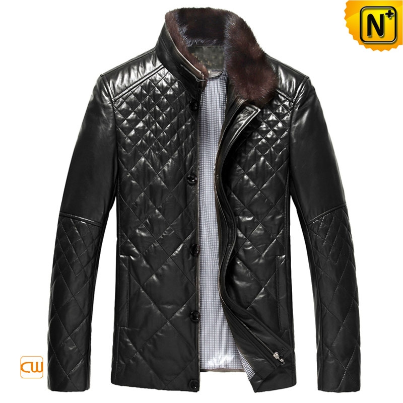 Fitted Quilted Leather Jacket for Men CW804078