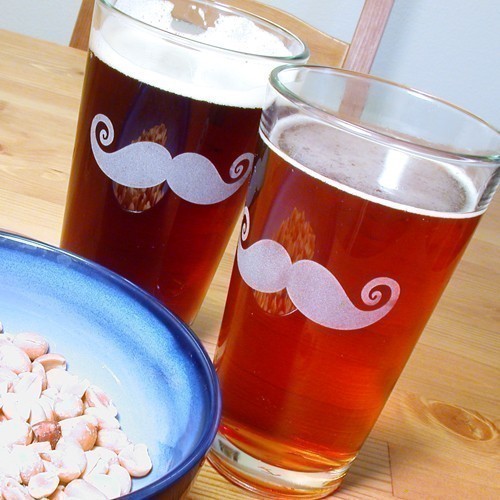 2 Mustache Pint Glasses As seen in REAL SIMPLE by BreadandBadger