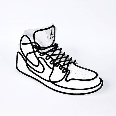 Single Line Anamorphosis of a NIKE Air Jordan