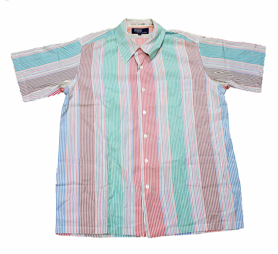 Vintage 80s Polo by Ralph Lauren Striped Button Up Shirt Mens Sz Large | Vintage Mens Goods