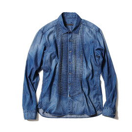 SOPHNET. - LIGHT OUNCE DENIM PLEATS SHIRT