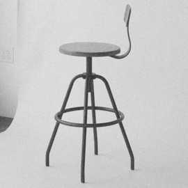 MAKR carry goods - Swivel Studio Work Stool Powder Coated Steel with Black Walnut