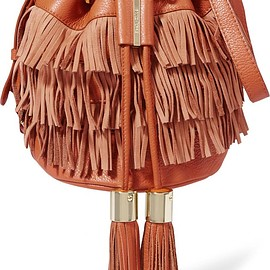 See by Chloé - Vicki medium fringed textured-leather and nubuck bucket bag