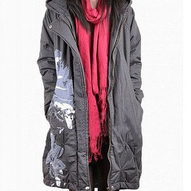 Printing winter coat, dark gray Winter coat, padded hooded coat