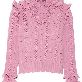 Gucci - Ruffled pointelle-knit wool-blend sweater