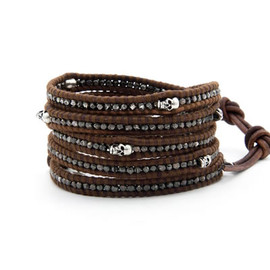 Chan Luu - The Gunmetal Nugget Wrap Bracelet with Sterling Silver Skulls on Red Brown Leather by jewelry designer Chan Luu