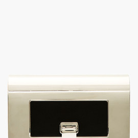 PROENZA SCHOULER - Silver & Leather Hinged Minudiere Clutch