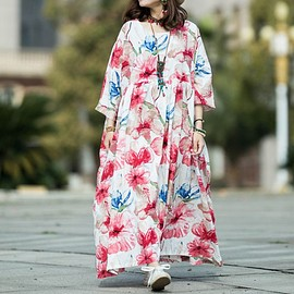 Cotton long dress, Summer dress, Women Maxi dress, skater dress, womens dresses, Raglan sleeve dress