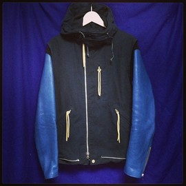 UNDERCOVERISM, UNDERCOVER - 袖レザーアーミーブルソン navy/blue