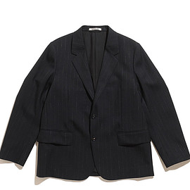 AURALEE - Wool Cupra Linen Cloth Jacket-Navy Stripe