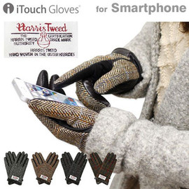 iTouch Glovesスマートフォン対応本革手袋 Leatherハリスツイード×レザー
