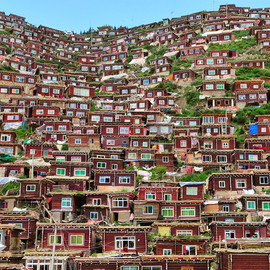 Tibet - houses homes stacked hill tibet