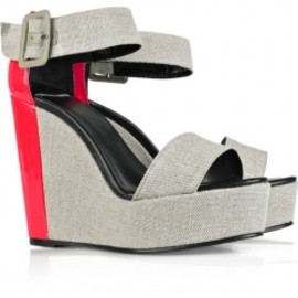 PIERRE HARDY - [ Pierre hardy]Color-block canvas and patent-leather wedge sandals
