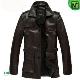 CWMALLS - Mens Brown Leather Trench Coat CW833903 - M.CWMALLS.COM